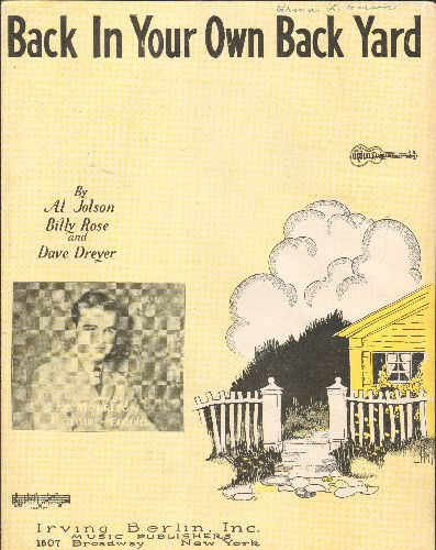Jolson, Al - Back In Your Own Backyard - Vintage 1928 SHEET MUSIC with ukelele arrangement for the standard made popular by Al Jolson. - EX8/ - Sheet Music