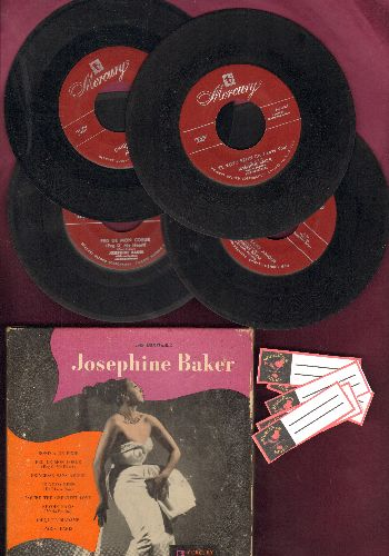 Baker, Josephine - Josephine Baker - Vintage 1952 Box set of 4 45rpm records, 8 songs sung in French, Spanish and English. RARE Collector's Item! - EX8/VG7 - 45 rpm Records