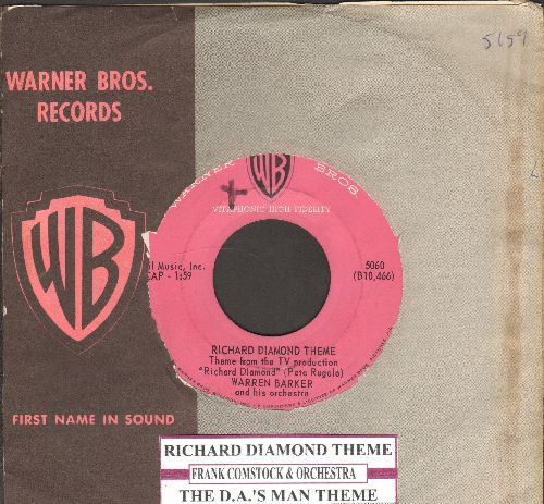Barker, Warren/Frank Comstock & Orchestra - Richard Diamond Theme/The D.A.'s Man Theme (RARE vinage Jazz-Theme 2-sider with Warner Brothers company sleeve) - EX8/ - 45 rpm Records