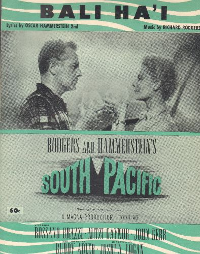 Bali Ha'i - Bali Ha'I - Vintage SHEET MUSIC to the enchanting ballad from -South Pacific-  (THIS IS SHEET MUSIC, NOT ANY OTHER KIND OF MEDIA! SHIPPING SAME AS 45rpm RECORD) - EX8/ - Sheet Music