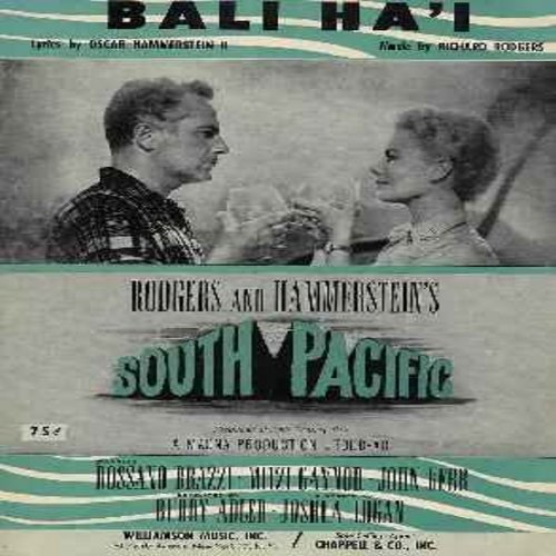 Hammerstein, Oscar - Bali Ha'I - Original Sheet Music from Broadway Production of South Pacific. Excellent condition, suitable for framing! Collector's Item! - EX8/ - Sheet Music