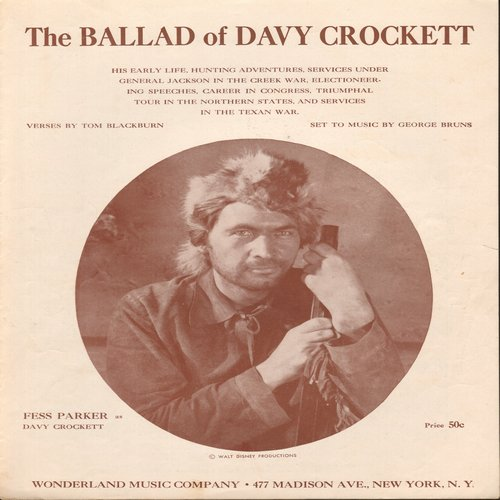 Parker, Fess - The Ballad Of Davy Crockett - SHEET MUSIC for the Disney Classic made popular by Fess Parker   (This is SHEET MUSIC, not any other kind of media!)  - EX8/ - Sheet Music