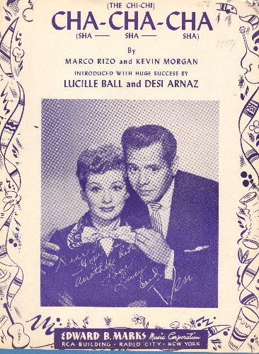 Ball, Lucille & Desi Arnez - Cha-Cha-Cha - Vintage SHEET Music with beautiful cover art featuring TV icons Lucy & Desi, missing center pages, but cover is beautiful and suitable for framing! - EX8/ - Sheet Music