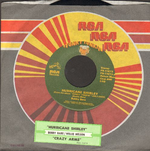 Bare, Bobby - Hurricane Shirley/Crazy Arms (by Willie Nelson on flip-side) (with juke box label and RCA company sleeve) - NM9/ - 45 rpm Records