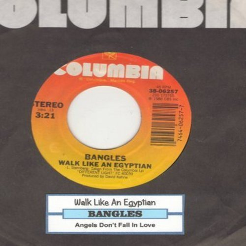 Bangles - Walk Like An Egyptian/Angels Don't Fall In Love (with juke box label and Columbia company sleeve) - EX8/ - 45 rpm Records
