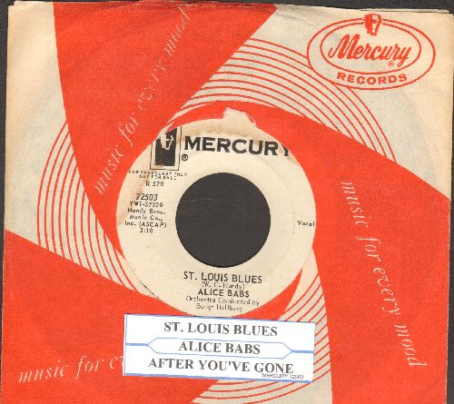 Babs, Alice - St. Louis Blues/After You've Gone (DJ advance pressing with RARE Mercury company sleeve and juke box label) - EX8/ - 45 rpm Records