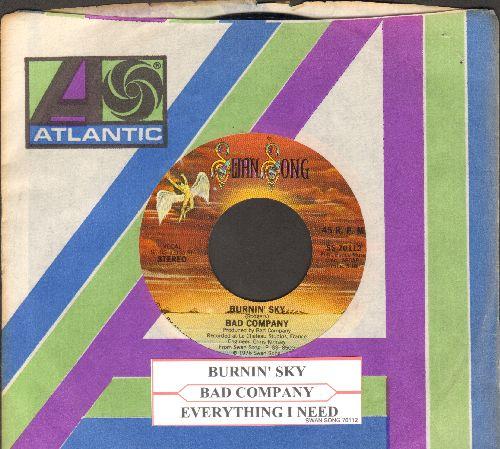 Bad Company - Burnin' Sky/Everything I Need (with juke box label and Atlantic company sleeve) - EX8/ - 45 rpm Records