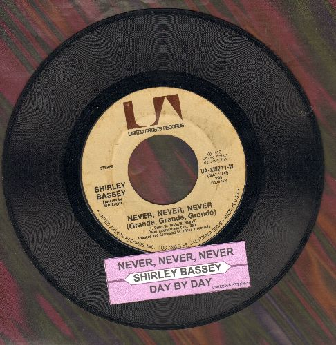 Bassey, Shirley - Never, Never, Never (Grande, Grande, Grande)/Day By Day (with juke box label) - EX8/ - 45 rpm Records