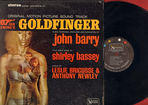 Barry, John, Shirley Bassey - Goldfinger - Original Motion Picture Sound Track featuring title song by Shirley Bassey (Vinyl STEREO LP record) - EX8/VG6 - LP Records