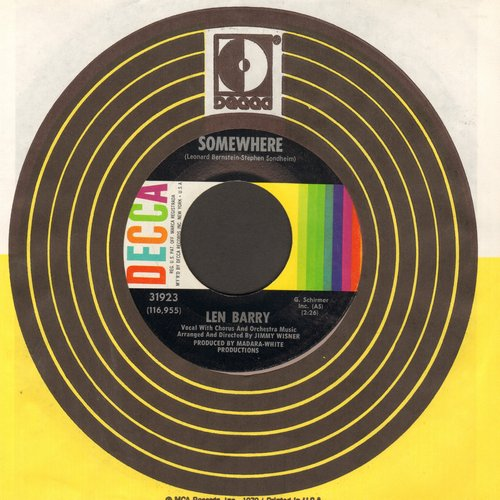 Barry, Len - Somewhere (from -West Side Story-)/It's A Cryin' Shame (with vintage Decca company sleeve) - EX8/ - 45 rpm Records