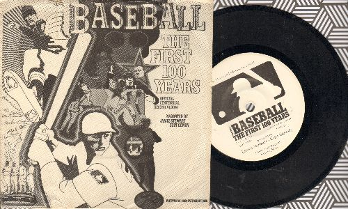 Stewart, James, Curt Gowdy - Professional Baseball - The First 100 Years, official centennial record album (7 inch 33rpm record, small spindle hole, with picture sleeve) - EX8/EX8 - 45 rpm Records