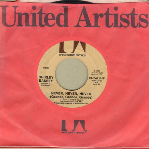 Bassey, Shirley - Never, Never, Never (Grande, Grande, Grande)/Day By Day (with United Artists company sleeve) - NM9/ - 45 rpm Records