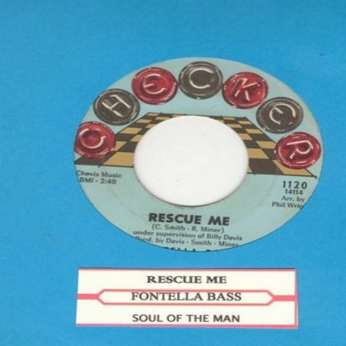 Bass, Fontella - Rescue Me/Soul Of The Man (red and black checkers on label second pressing) with juke box label) - EX8/ - 45 rpm Records