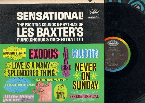Baxter, Les & Chorus & Orchestra - Sensational!: Never On Sunday, La Vie En Rose, Love Is A Many-Splendored Thing, Havah Naghila, Exodus (Vinyl MONO LP record, 1961 first pressing) - NM9/EX8 - LP Records