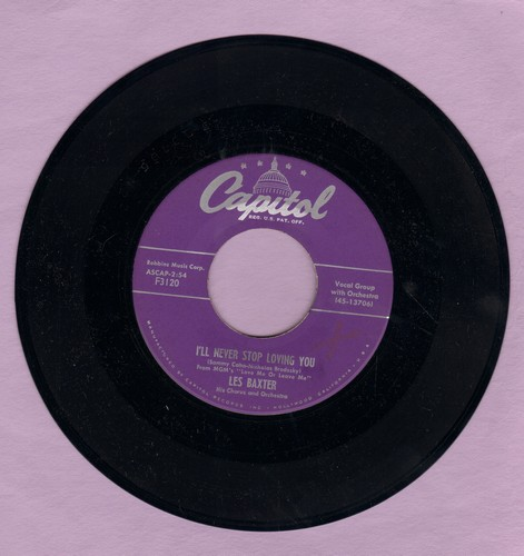 Baxter, Les & Chorus & Orchestra - I'll Never Stop Loving You (from film -Love Me Or Leave Me-)/Wake The Town And Tell The People - NM9/ - 45 rpm Records