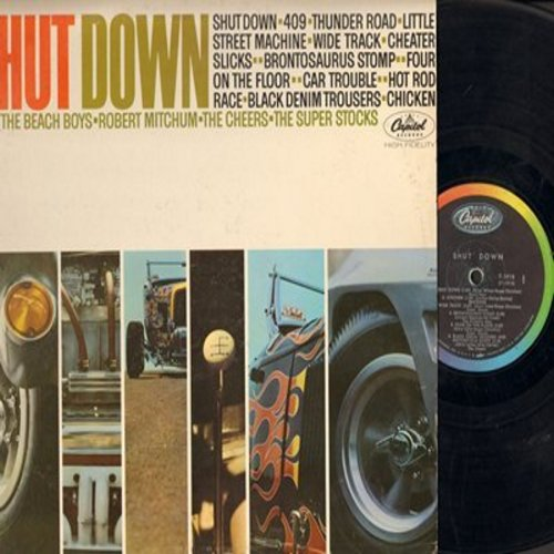 Beach Boys, Robert Mitchum, Cheers, Super Stocks - Shut Down: 409, Thunder Road, Car Trouble, Chicken, Black Denim Trousers (Vinyl MONO LP record) - EX8/VG7 - LP Records