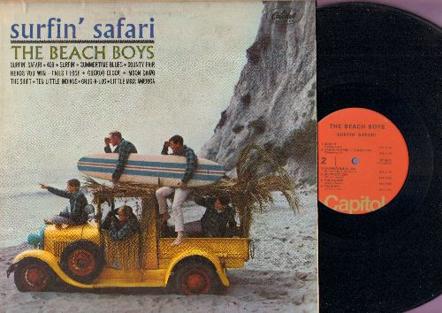 Beach Boys - Surfin' Safari: Summertime Blues, Moon Dawg, Ten Little Indians, Little Miss America, 409, The Shift (Vinyl LP record, orange label 1970s issue electronically rechanneled STEREO LP record) - VG7/VG6 - LP Records