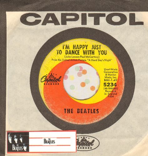 Beatles - I'm Happy Just To Dance With You/I'll Cry Instead (orange/yellow swirl first pressing with vintage Capitol company sleeve) - VG7/ - 45 rpm Records