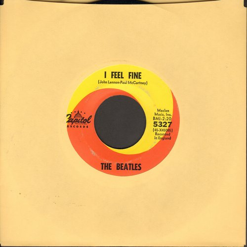 Beatles - I Feel Fine/She's A Woman (orange/yellow swirl first issue)(wol) - VG6/ - 45 rpm Records