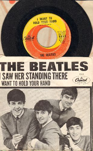 Beatles - I Want To Hold Your Hand/I Saw Her Standing There (first pressing with picture sleeve)(wol/wos) - VG6/VG7 - 45 rpm Records