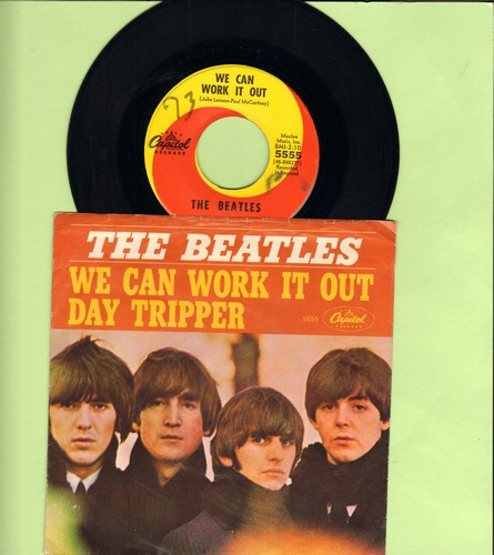 Beatles - We Can Work It Out/Day Tripper (orange/yellow swirl first pressing with picture sleeve, minor wol) - EX8/VG7 - 45 rpm Records