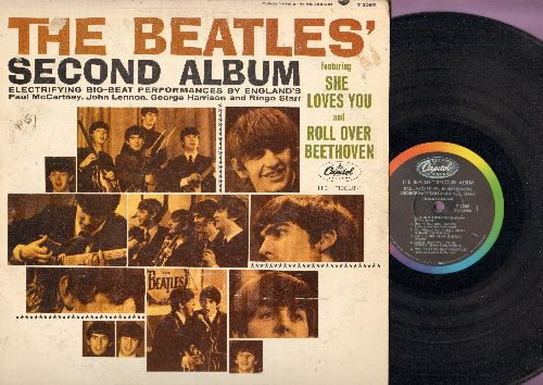 Beatles - The Beatles' Second Album: She Loves You, Money, Long Tall Sally, Please Mr. Postman, I'll Get You (Vinyl MONO LP record, rainbow circle label) - EX8/G5 - LP Records