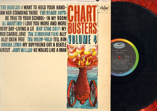 Beatles, Beach Boys, Donna Lynn, others - Chart Busters Vol. 4: I Want To Hold Your Hand, Tell Him, My Boyfriend Got A Beatle Haircut (Vinyl MONO LP record) - EX8/VG7 - LP Records