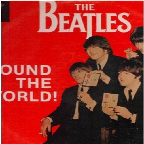 Beatles - The Beatles 'Round The World - Hear The Beatles talk to reporters, 1986 pressing, vintage recordings. John, Paul, George & Ringo tell their fans what they wanted to know. Historical recordings! - EX8/VG7 - LP Records