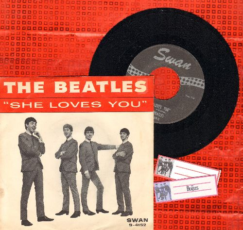 Beatles - She Loves You/I'll Get You (with RARE picture sleeve) - NM9/VG7 - 45 rpm Records