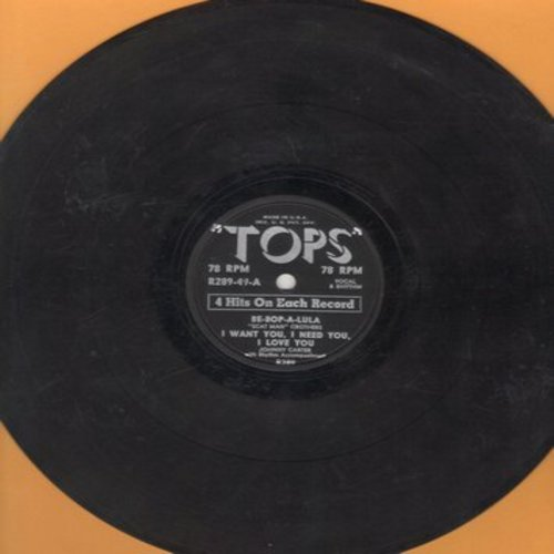 Scat-Man Crothers, Johnny Carter, Betsy Gay, Laurie Loman & The Toppers - Be-Bop-A-Lula/I Want You, I Need You, I Love You/Sweet Old-Fashioned Girl/Allegheny Moon (10 inch 78rpm EP record, contemporary cover versions of hits) - VG6/ - 78 rpm