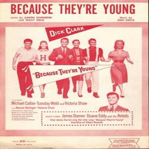 Darren, James - Because They're Young - RARE Vintage Sheet Music for the song made popular by James Darren, from film of same title (This is SHEET MUSIC, not any other kind of media!) - NM9/ - Sheet Music