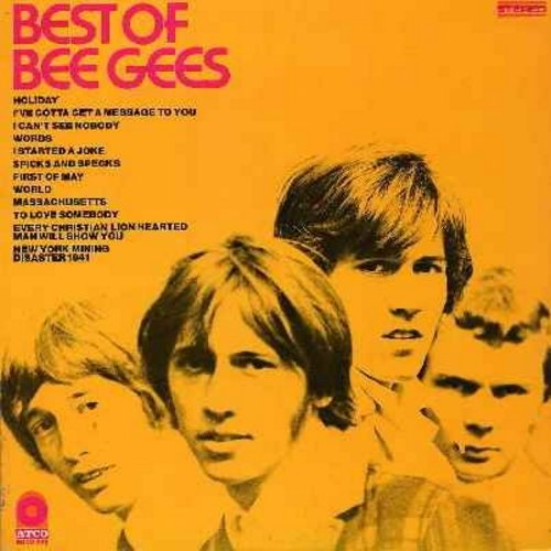 Bee Gees - Best Of Bee Gees: I Started A Joke, Massachusetts, To Love Somebody, New York Mining Disaster 1941 (yello label/multicolor logo first issue, vinyl STEREO LP record) - EX8/VG7 - LP Records