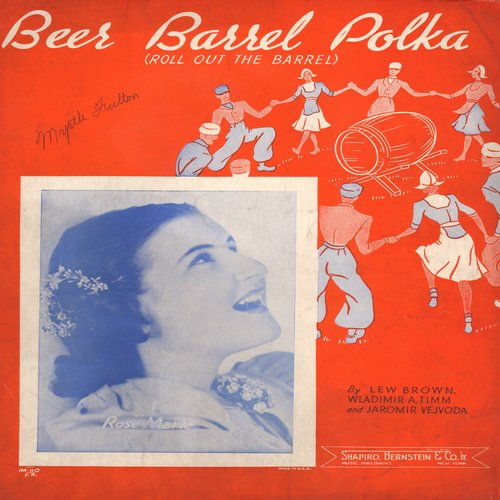 Beer Barrel Polka - Beer Barrel Polka (Rosamunde) - SHEET MUSIC of the popular polka tune (This is SHEET MUSIC, not any other kind of media!) - EX8/ - Sheet Music
