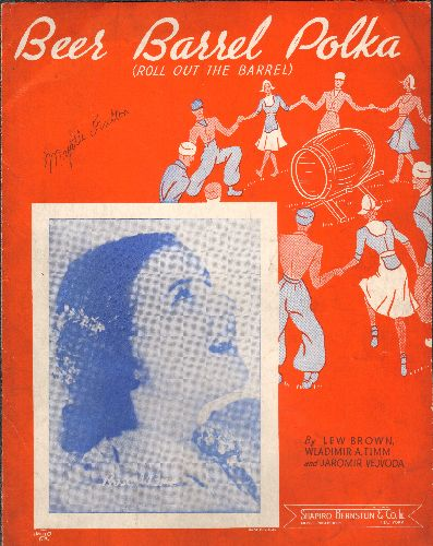 Marie, Rose - Beer Barrel Polka - Vintage SHEET MUSIC for the Polka Favorite, NICE cover art featuring a young Rose Marie! - VG7/ - Sheet Music