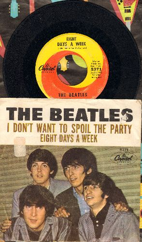 Beatles - Eight Days A Week/I Don't Want To Spoil The Party (orange/yellow swirl first pressing with picture sleeve) - VG7/VG6 - 45 rpm Records