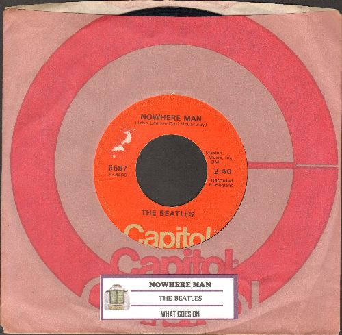 Beatles - Nowhere Man/What Goes On (1970s pressing with juke box label ans Capitol company sleeve) - VG7/ - 45 rpm Records