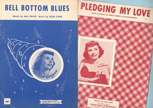 Brewer, Teresa - Set of 2 Vintage Teresa Brewer SHEET MUSIC titles; includes Bell Bottom Blues and Pledging My Love, BEAUTIFUL cover art of the Popular Singer! - EX8/ - Sheet Music