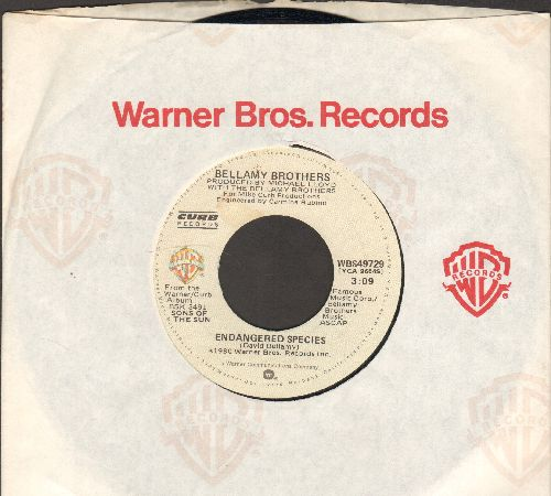 Bellamy Brothers - Endangered Species/They Could Put Me In Jail (with Warner Brothers company sleeve) - EX8/ - 45 rpm Records