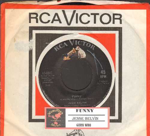 Belvin, Jesse - Guess Who/Funny (with juke box label and RCA company sleeve) - EX8/ - 45 rpm Records