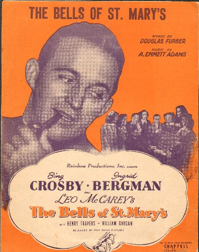 Crosby, Bing - The Bells Of St. Mary's - Vintage SHEET MUSIC for the Bing Crosby Classic, NICE Movie-Poster Cover! - EX8/ - Sheet Music