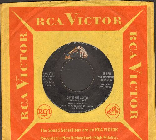 Belvin, Jesse - Give Me Love/I'll Never Be Lonely Again (ULTRA-DREAMY Vintage R&B 2-sider! - with RCA company sleeve) - NM9/ - 45 rpm Records