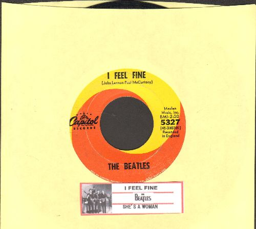 Beatles - I Feel Fine/She's A Woman (orange/yellow swirl first issue with juke box label) - VG7/ - 45 rpm Records