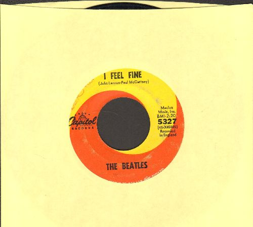 Beatles - I Feel Fine/She's A Woman (orange/yellow swirl first issue)(wol) - VG7/ - 45 rpm Records