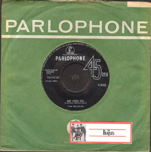 Beatles - She Loves You/I'll Get You (British Pressing with removable spindle adaptor, with vintage Parlophone company sleeve) - EX8/ - 45 rpm Records