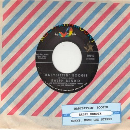 Bendix, Ralf - Babysittin' Boogie (German Version of the US Novelty Hit!)/Sonne Mond Und Sterne (RARE US Pressing, sung in German, with vintage ABC-Paramount company sleeve) - NM9/ - 45 rpm Records