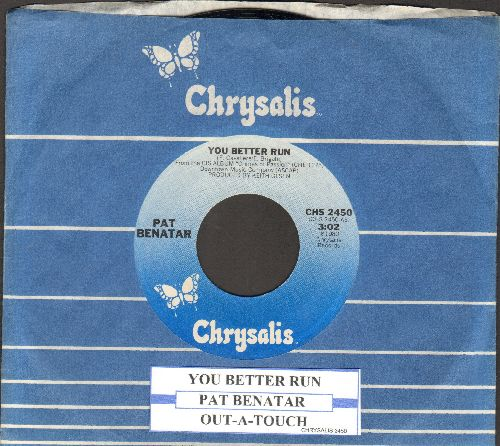 Benatar, Pat - You Better Run/Out-A-Touch (with Chrysalis company sleeve and juke box label) - NM9/ - 45 rpm Records