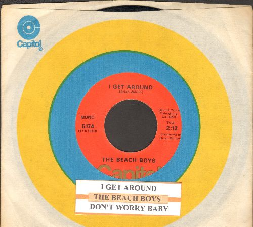 Beach Boys - I Get Around/Don't Worry Baby (1970s second pressing with juke box label and Capitol company sleeve) - VG7/ - 45 rpm Records