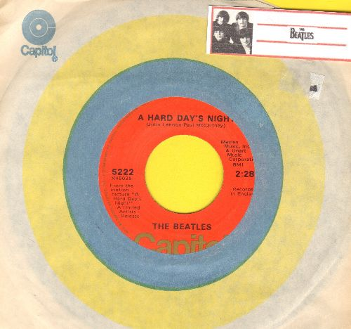 Beatles - A Hard Day's Night/I Should've Known Better (1970s issue with Capitol company sleeve) - EX8/ - 45 rpm Records