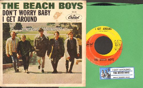 Beach Boys - I Get Around/Don't Worry Baby (with picture sleeve and juke box label) - VG7/EX8 - 45 rpm Records