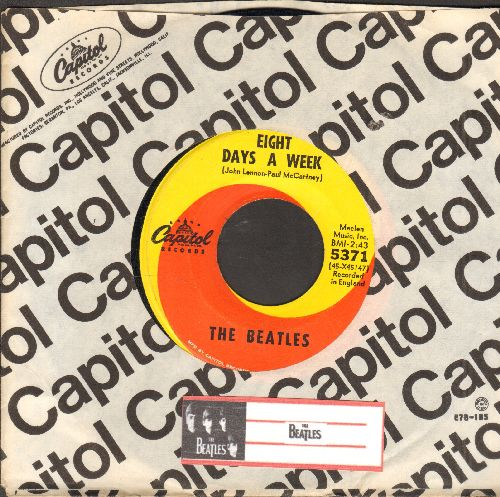 Beatles - Eight Days A Week/I Don't Want To Spoil The Party (yellow/orange swirl first issue with Capitol company sleeve) - EX8/ - 45 rpm Records